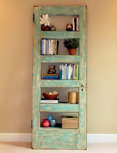 Add Old Doors to the Decoration of Your Home: They Look Fantastic! - Decoration and Fashion Dining Room Shelves, Room Divider Shelves, Laundry Room Shelves, Door Shelves, Shelving, Recycled Door, Repurposed, New Furniture, Furniture Projects