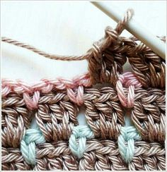 Crochet Diy Crochet block stitch aslo known as chocolate box stitch More - Top 5 reasons why the Block Stitch (Chocolate Box) is the best crochet stitch ever, with free patterns for booties and blankets! Crochet Block Stitch, Crochet Blocks, Crochet Motifs, Crochet Stitches Patterns, Afghan Patterns, Knitting Patterns, Love Crochet, Crochet Crafts, Crochet Yarn