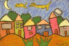 Oil pastel houses with floating dog chasing cat  cool lesson with all the steps
