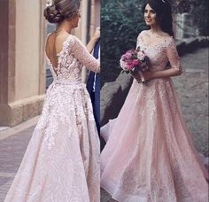 Princess pink tulle lace applique half-sleeves A-line bridesmaid dresses #long #pink #promdress #eveningdress #promdresses #promgown #evening Gown #2018 #newarrival #lace