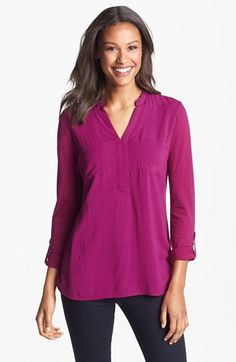 Great top! Two by Vince Camuto Split Neck Mixed Media Top available at #Nordstrom