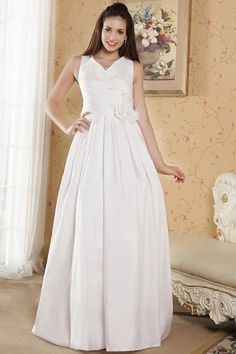 V-Neck Elegant White Evening Gown - Order Link: http://www.theweddingdresses.com/v-neck-elegant-white-evening-gown-twdn1865.html - Embellishments: Flower , Ruched; Length: Floor Length; Fabric: Taffeta; Waist: Natural - Price: 153.4USD