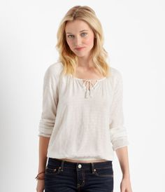 Long Sleeve Hearts Peasant Top - Aéropostale®