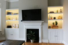 Built In Cupboards Living Room, Alcove Storage Living Room, Living Room Built Ins, Bookshelves In Living Room, Narrow Living Room, New Living Room, Tv On Wall Ideas Living Room, Alcove Bookshelves, Alcove Shelving