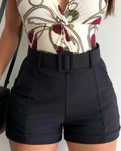 Solid High Waist Casual Shorts trendiest dresses for any occasions, special event dresses, accessories and women clothing. Short Outfits, Short Dresses, Summer Outfits, Classy Outfits, Casual Outfits, Cute Outfits, Dog Outfits, Look Fashion, Fashion Outfits