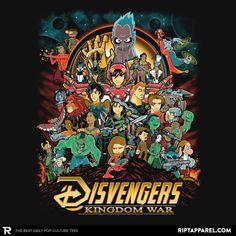 This awesome Disney Animation/Avengers: Infinity War mashup t-shirt Disney Marvel, Marvel Art, Marvel Avengers, Disney Kunst, Disney Art, Disney Pixar, Disney Fantasy, Disney Crossovers, Cartoon Crossovers