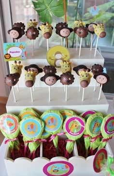 Adorable cake pops at a Baby Jungle Animals Birthday Party!  See more party ideas at CatchMyParty.com!