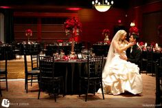 black/red themed wedding reception