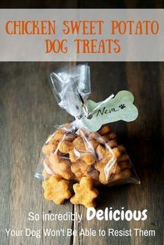 Sweet Potato Dog Treats. Dogs go crazy for these with the chicken flavor. Make them at home.