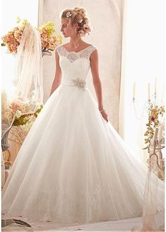 Elegant Tulle & Satin Jewel Neckline Natural Waistline A-line Wedding Dress