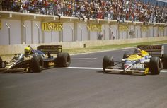 Ayrton Senna (Lotus 98T Renault) crosses the line 14/100ths of a second ahead of Nigel Mansell (Williams FW11 Honda) for the win. Jerez, Spain, 1986