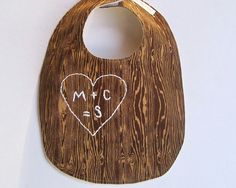 AS SEEN In the Huffington Post The Family Tree Bib  - Personalized Organic Baby Bib - Hand Embroidered Initials - Brown Woodgrain