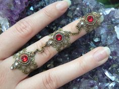 Swarovski triple armor ring nail ring RED claw ring knuckle ring  steampunk vampire goth victorian moon goddess pagan witch boho gypsy style
