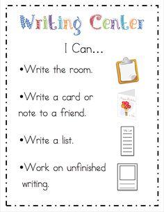 "Ricca's Kindergarten: Literacy Center ""I Can"" Cards {Freebie}Mrs. Ricca's Kindergarten: Literacy Center ""I Can"" Cards {Freebie} Writing Center Kindergarten, Literacy Work Stations, Writing Station, 1st Grade Writing, Teaching Writing, Teaching Kindergarten, Writing Centers, Writing Activities, Writing Ideas"