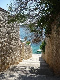 Stairs down to the water on Hvar Island Hvar Island, Stairways, Beautiful Places, Water, Plants, Design, Stairs, Gripe Water, Staircases