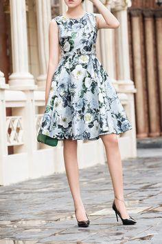 Love this Dress! Elegnat Printed Skater Dress #Elegant #Sleeveless #Floral #Dresses
