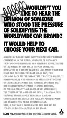 Long Copy spring ad Brand Manifesto, Copy Ads, Brand It, Copywriting, Print Ads, Mitsubishi Motors, Advertising, Marketing, Art Direction