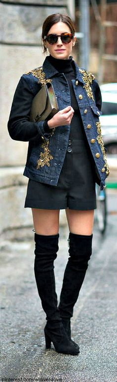 Street style MFW. embellished. denim. black.