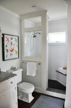DIY Farmhouse Bathroom Remodel Plans for Sale! — Teaselwood Design - DIY Farmhouse Bathroom Remodel Plans for Sale! — Teaselwood Design You are in the right place abou - Small Bathroom With Shower, Tiny House Bathroom, Shower With Half Wall, Small Master Bathroom Ideas, Simple Bathroom, Dyi Bathroom, Basement Bathroom Ideas, Shower Ideas Bathroom, Bathroom Remodel Small