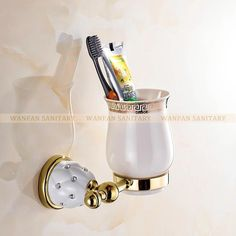 Modern Accessories Luxury European Style Golden Copper Toothbrush Tumbler&Cup Holder Wall Mount Bath Product 5202