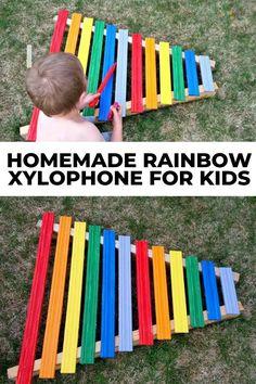 Homemade Rainbow Xylophone for Kids
