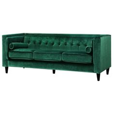 After the popularity of our blue velvet sofa round-up, I thought I'd put together a nice moodboard of green velvet sofas for the home. Green is likely going to be a popular hue this year after Pantone chose Greenery as the color of the year. Velvet Chesterfield Sofa, Tufted Sofa, Sofa Upholstery, Settee, Sofas, Sectional Sofa, Couches, Sofa Beds, Sofa Cushions