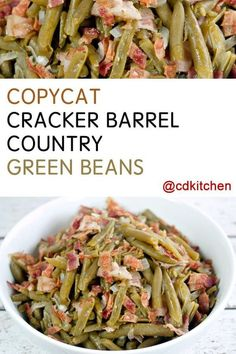 won't believe how easy it is to copy this popular side dish from Cracker Barrel at home. The recipe is made with bacon, green beans, onion, and seasonings. Side Dish Recipes, Veggie Recipes, Cooking Recipes, Cat Recipes, Canned Green Bean Recipes, Easter Recipes, Canned Vegetable Recipes, Salad Recipes, Health Foods