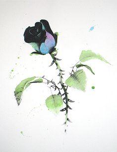 LUDO graffiti street art black coloured rose
