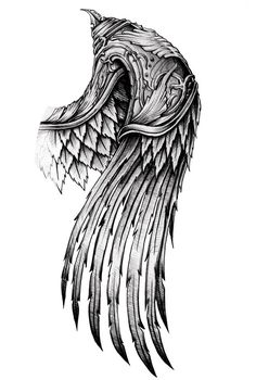 ornate wing by AYEUHONE on DeviantArt Schulterpanzer Tattoo, Hand Tattoos, Alas Tattoo, Eagle Tattoos, Body Art Tattoos, Tribal Tattoos, Polynesian Tattoos, Feather Tattoos, Geometric Tattoos