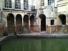 Roman Baths, Bath - iphone leaning over a ledge!
