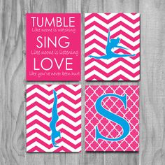 Girls Gymnastics Art, Cute Personalized Gymnastics Gifts and Gymnastics Wall Art- silhouettes- pink and blue