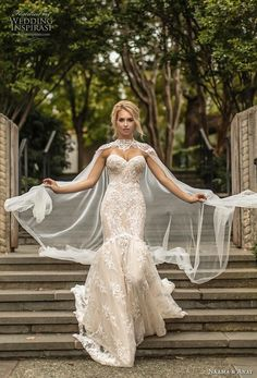 & Anat Couture Wedding Dresses Fall 2019 naama anat fall 2019 couture bridal strapless sweetheart neckline full embellishment elegant ivory color mermaid wedding dress with cape backless chapel train mv -- Naama & Anat Couture Wedding Dresses Fall 2019 Wedding Dress Trends, Fall Wedding Dresses, Colored Wedding Dresses, Fall Dresses, Bridal Dresses, Wedding Gowns, Modest Wedding, Casual Wedding, Wedding Dress Colors