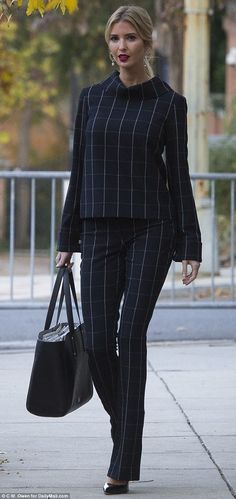 Greeting the day: 36, had an early start of the week. What Ivanka is wearing today Nov 20 2017 windowpane plaid pantsuit. red lip