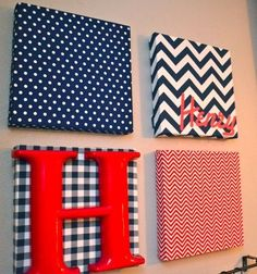 DIY Art Canvas: Cover canvas with fabric, or use paper and coat with mod podge. Add a letter to spell child's name. Hang with ribbon! by kkhh