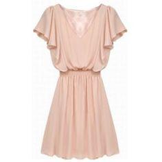 Short Sleeve Solid Color V-Neck Nipped Waist Women's DressCasual Dresses | RoseGal.com