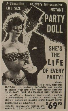 1960s vintage advertisement PARTY DOLL Woman Sex Novelty Party Toy Campy Kitsch Sexy Bawdy by Christian Montone, via Flickr
