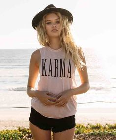 Affirm and attract karmic blessings in this Spiritual Gangster graphic burnout-knit tee cut with deep armholes for keeping you cool and showing off your cute underlayer of choice. Fake Female, Cool Outfits, Casual Outfits, Athleisure Outfits, Coachella, Lounge Wear, Feminine, Spiritual Gangster, Karma