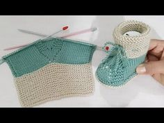 Knitting For Kids, Easy Knitting, Baby Knitting Patterns, Crochet Shoes, Knit Crochet, Crochet Circles, Embroidery Motifs, Knitted Slippers, Baby Booties