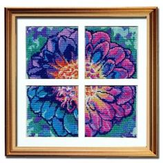 Solarize Dahlia counted cross stitch patterns - set of 4