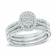 1/2 Ct Natural Diamond Oval Cluster Bridal Set In 14K White Gold by JewelryHub on Opensky