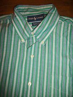 Ralph Lauren Ellington Men's Size L Long Sleeve Button Front Shirt Pocket Cotton