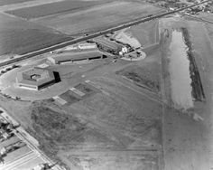 A 1936 aerial view by Bob McCorkle looking northeast at the hexagonal hangar & terminal building at Alhambra Airport