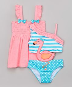 Look what I found on #zulily! Pink Flamingo One-Piece & Cover-Up - Infant, Toddler & Girls by Baby Buns #zulilyfinds