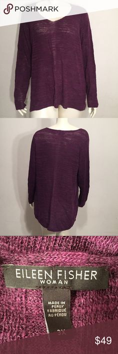 Eileen Fisher Purple Long Sleeve Tunic Long sleeve tunic by Eileen Fisher. This garment is in immaculate condition. No holes or stains. Color is purple & size is 3X. Eileen Fisher Tops Tunics
