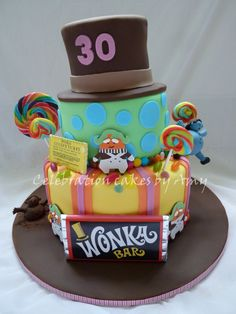 Charlie and the chocolate factory cake - 3 tiered rainbow cake in theme of Willy Wonka.