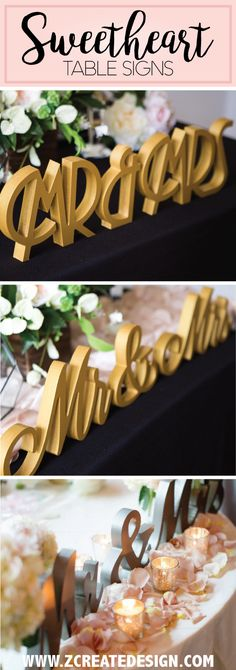 "New ""Mr & Mrs"" wedding sweetheart table signs in matte shimmery metallic gold silver, pewter...  Complete your sweetheart table decorations. 