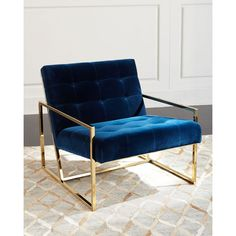 Jonathan Adler GOLDFINGER LOUNGE CHAIR (110.860 RUB) ❤ liked on Polyvore featuring home, furniture, chairs, accent chairs, navy, handmade furniture, navy blue furniture, navy blue chair, navy accent chair and jonathan adler chair