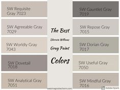 Die besten Sherwin Williams Grey Paint-Farben - Home: Living color 2019 Greige Paint Colors, Exterior Paint Colors, Bedroom Paint Colors, Paint Colors For Living Room, Paint Colors For Home, House Colors, Warm Gray Paint Colors, Gray Living Room Walls, Colours That Go With Grey
