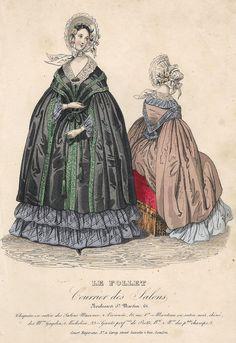 """Le Follet Fashion Plate - 1850 - """"""""MANTEAU EN SATIN"""""""" - H-C Lithograph"""