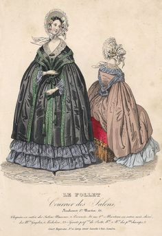 """VINTAGE FASHION PRINT DESCRIPTION This hand colored lithograph print is from """"COURT MAGAZINE"""". It was published by H. Carey in London in about 1850. CONDITION This print has an image that is about 7"""""""